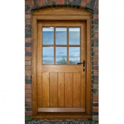 BR14 Framed Ledged and Boarded Oak Door with Frame