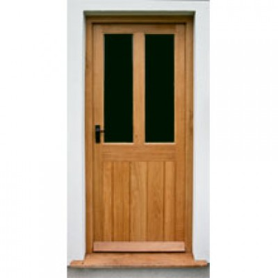 BR08 Framed Ledged and Boarded Oak House Door with Frame
