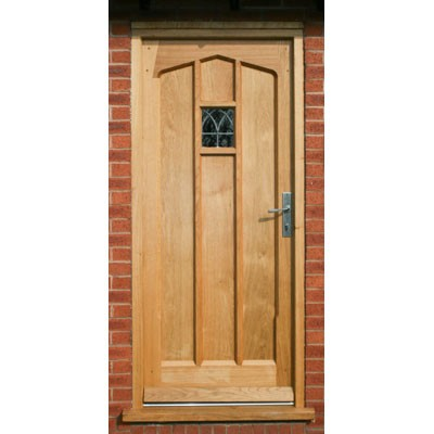 BR02 Gothic Arched Solid Oak Door with a window